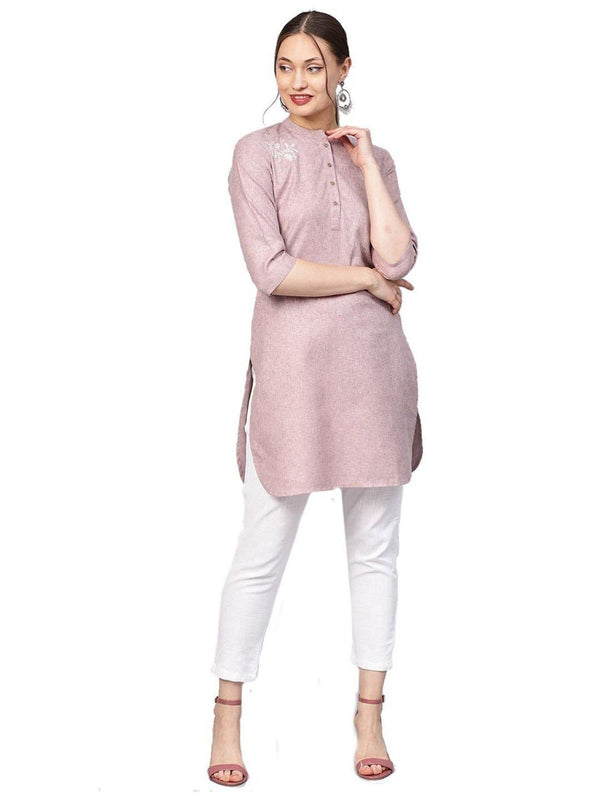 Pink Solid Straight Handloom Kurta With Pant