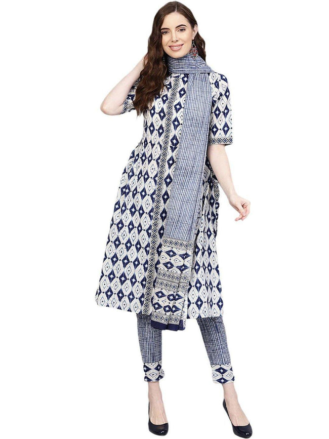 Navy Blue Geometric A-Line Cotton Kurta With Pant & Dupatta - ZERESOUQ