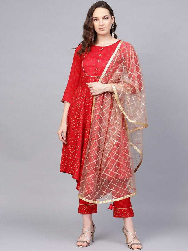 Printed Asymmetric Kurta With Printed Pant And Printed Dupatta - ZERESOUQ