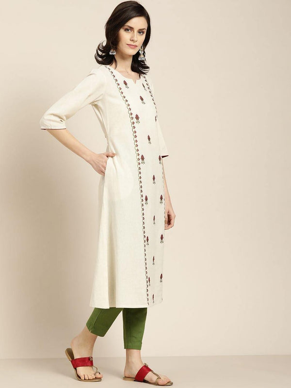 Off white Embroidered cotton flex A line kurta with solid pant - ZERESOUQ