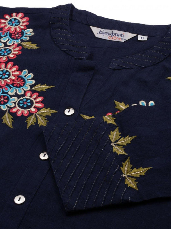 Navy blue embroidered a line kurta With Solid Cotton Slub pant - ZERESOUQ