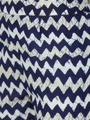 Navy Blue Printed A-Line Cotton Kurta With Palazzo