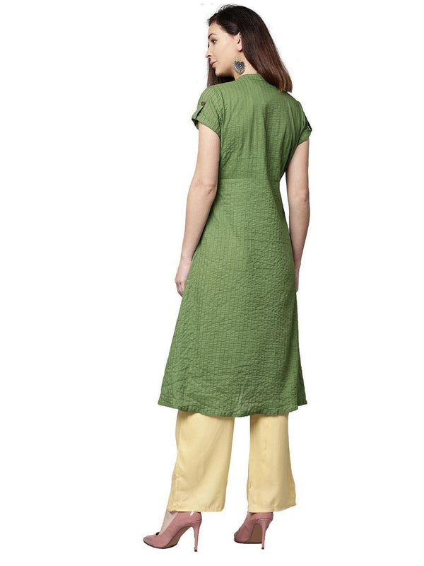 Olive and Beige Solid A-Line Cotton Kurta With Palazzo