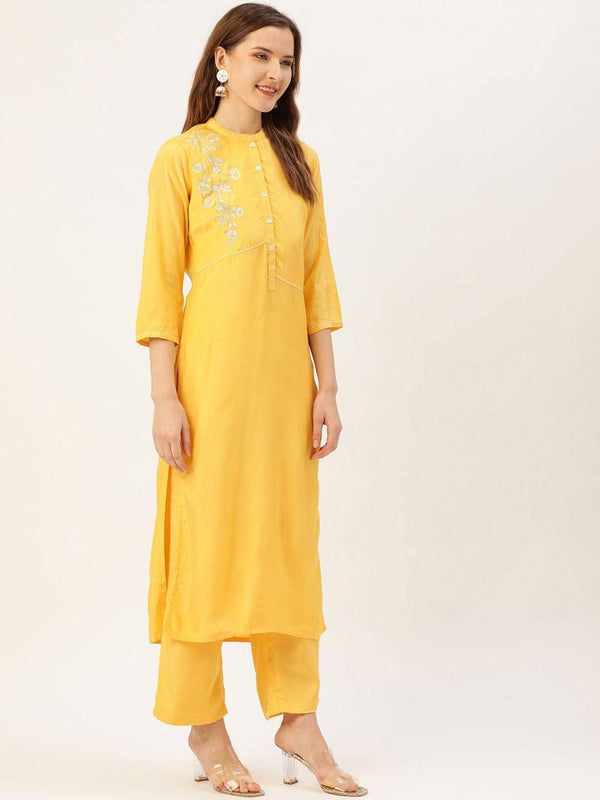 Yellow embroidered straight kurta with palazzo - ZERESOUQ