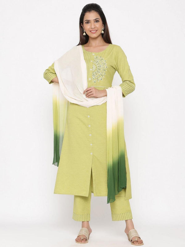Green Embroidered A Line Cotton Blend Kurta With Palazzo & Dupatta