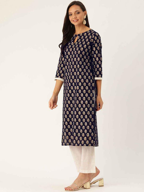 Navy Blue Ethnic Motif Straight Cotton Kurta With Palazzo - ZERESOUQ