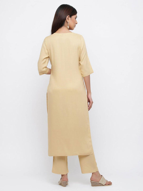 Beige Solid Straight Blended Kurta With Palazzo - ZERESOUQ