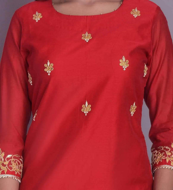 ZERE - Crimson Red Silk Kurta