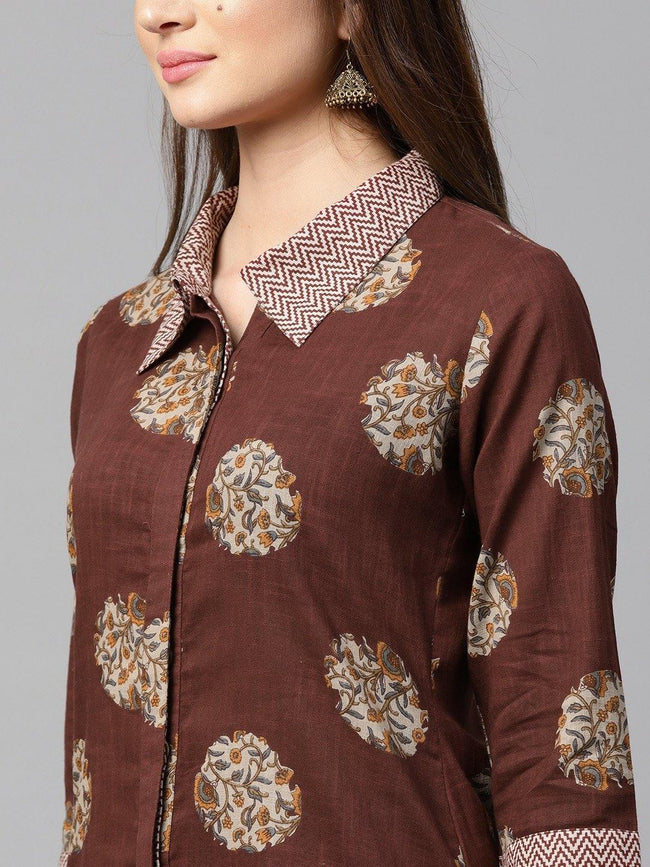 YF -  Brown & Off-White Printed Kurta with Trousers - ZERESOUQ