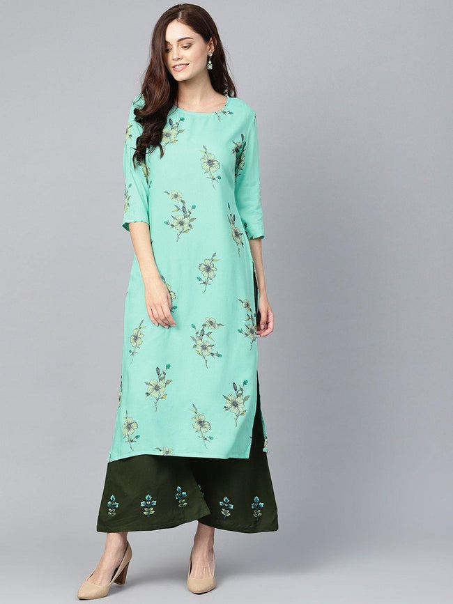 YF -  Blue & Olive Green Printed Kurta with Palazzos - ZERESOUQ
