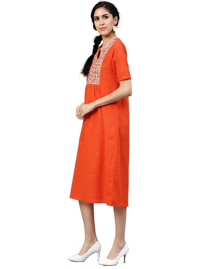 Orange Embroidered A-Line Cotton Slub Dress - ZERESOUQ