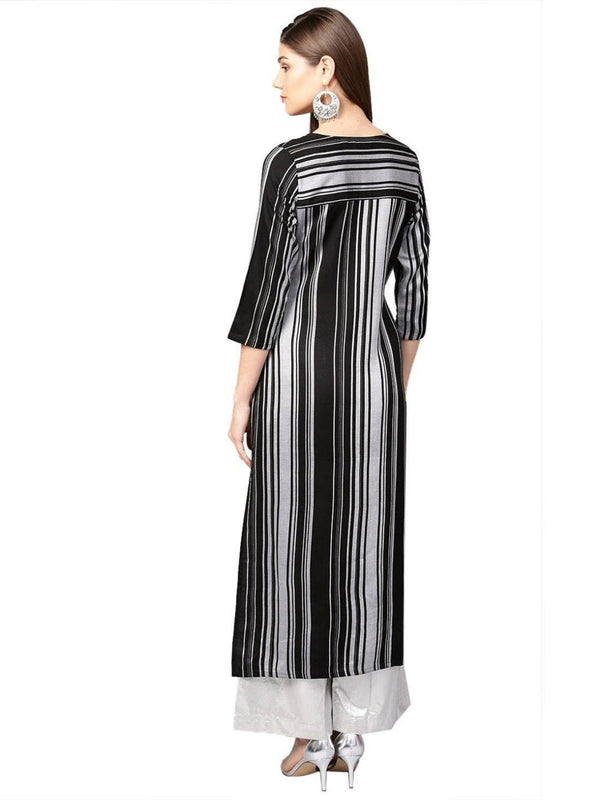 Black Geometric Straight Yarn Dyed Rayon Kurta