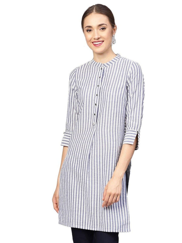 Women Grey Geometric Straight Yarn Dyed Cotton Kurta