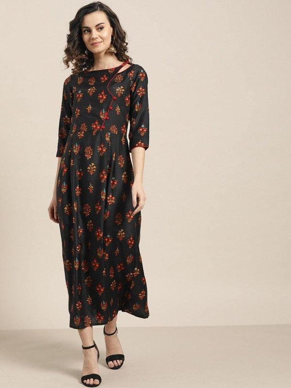 Black Ethnic Motifs A-Line Viscose Dress