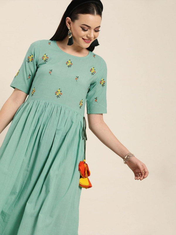Women Sea green embroidered flared dress
