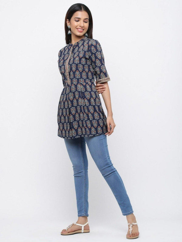 Navy Blue Ethnic Motif Flared Cotton Short Kurta