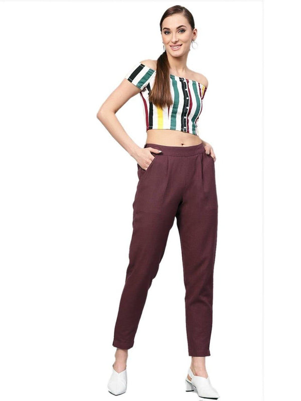 Women Burgundy Solid Straight Cotton Slub Trouser