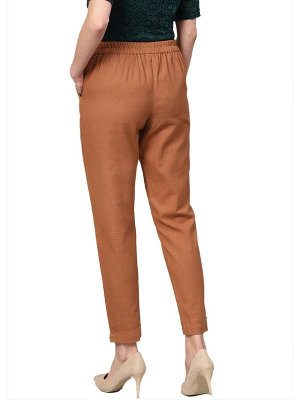 Women Light Brown Solid Straight Cotton Slub Trouser - ZERESOUQ