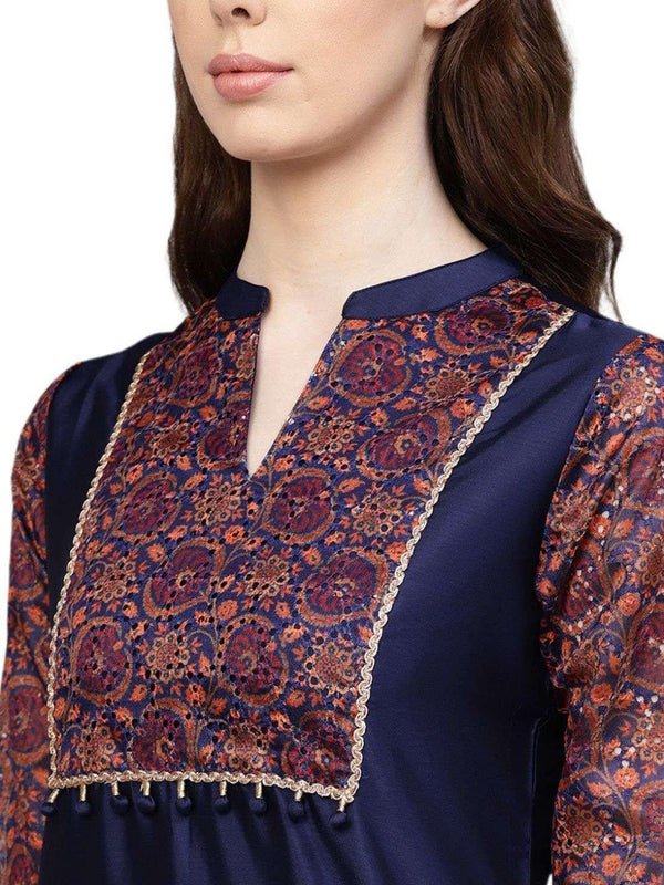 Navy Blue Ethnic Motifs Straight Chanderi Kurta With Pant