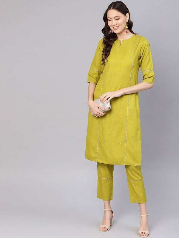 Women Olive Green Embroidered Straight Rayon Slub Kurta With Pants