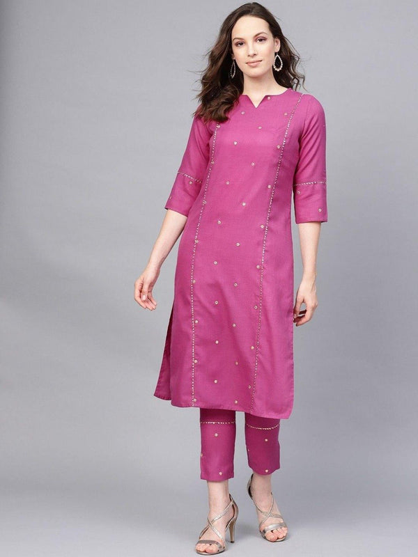 Embroidered Straight Kurta With Mirror Detailing Solid Pant