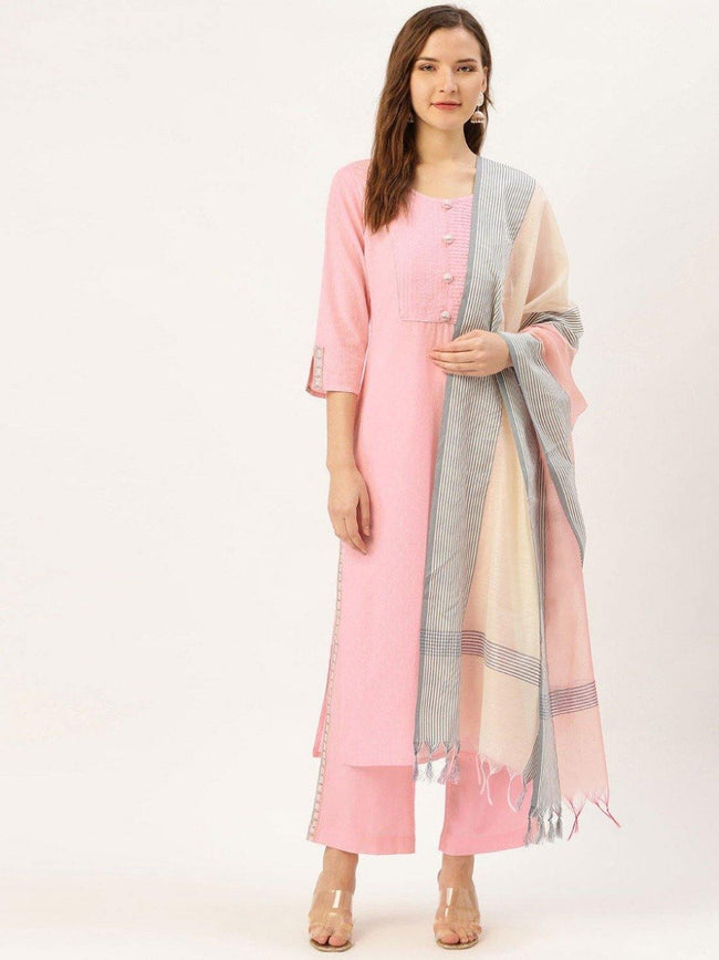 Women Pink cotton dobby embroidered straight kurta with palazzo & dupatta - ZERESOUQ