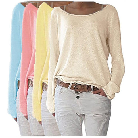 Solid Knitted O Neck Long Sleeve Womens Top
