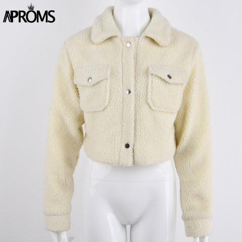 Solid Color Cropped Teddy Jacket