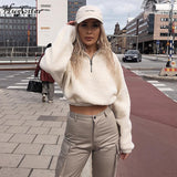 Long Sleeve Zipper High Neck Crop Jacket