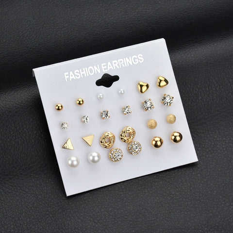 12 pair/set Square Crystal Heart Stud Earrings