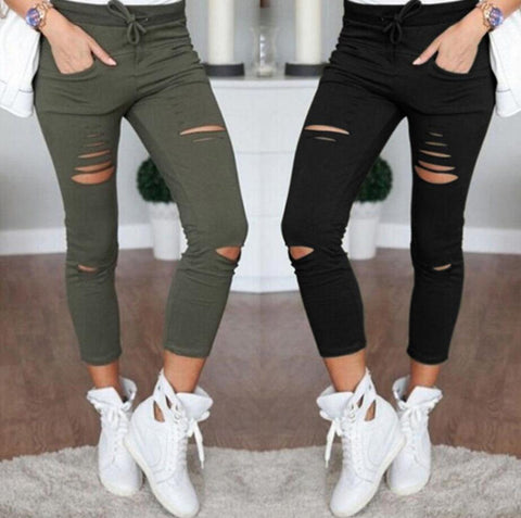 Womens Holes Destroyed Knee Ripped Jeans