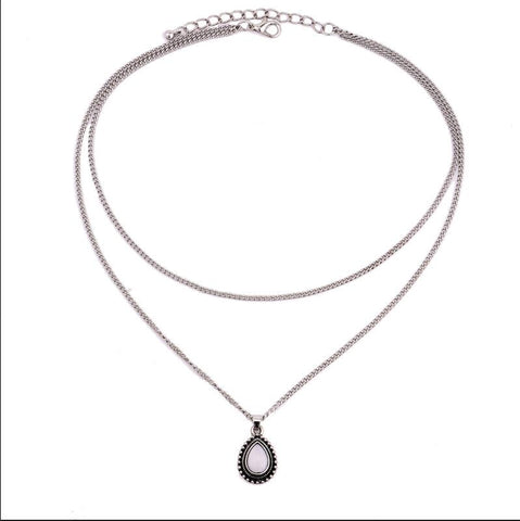 Double Crescent Water Drop Necklace