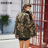 Lightweight Camo Patch Button Down Jacket