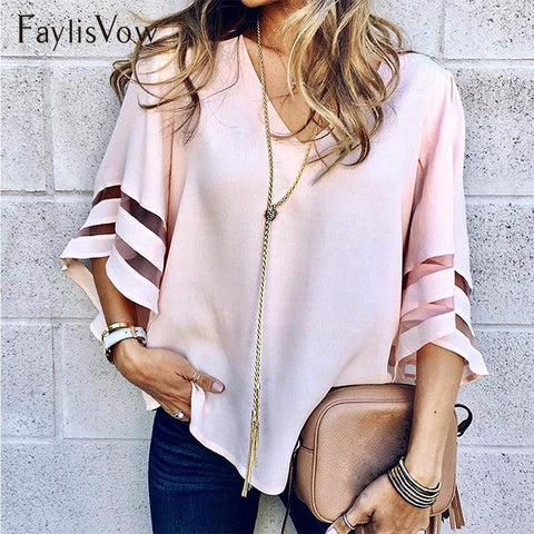 V Neck Flared Sleeves Patchwork Shirt