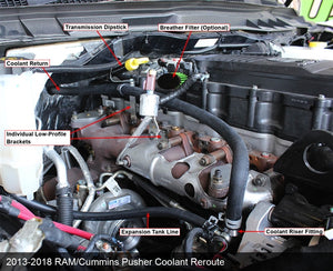 Pusher Coolant Reroute Kit for 2013-2018 RAM 6.7L Cummins Trucks