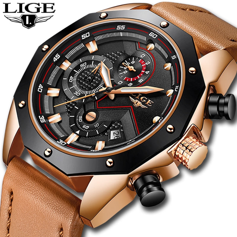 LIGE Mens Watches Top Brand Luxury Quartz Gold Watch Men Casual Leather Military Waterproof Sport Wristwatch Relogio Masculino - LE JAO EXPRESS