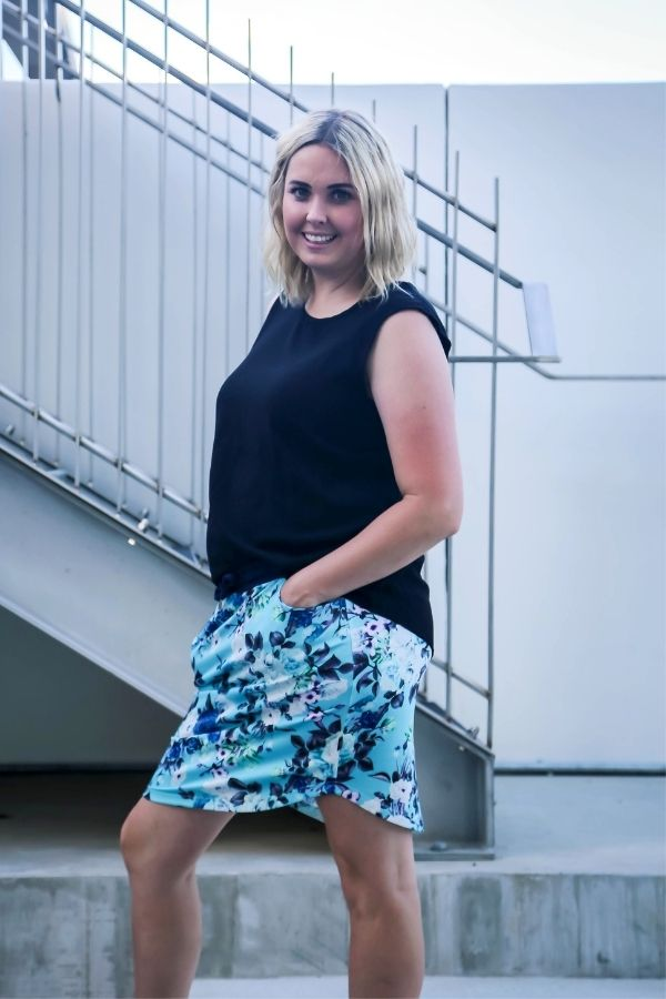 Clara Skirt by Emily Rose Designs. Side view. Affordable, comfortable New Zealand designed women's fashion.