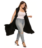 Women's Long Cardigan - Plus Sizes | Sleeveless Solid Draped With Open Front | Asymmetrical Over Hip |