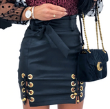 2020 Solid Black Faux Leather Skirt |  Punk Lace Up Or Button Up |  High Waist