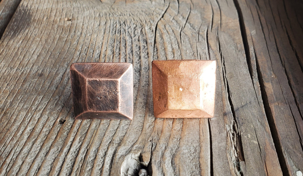"1"" Square Plateau Hammered Copper Head Nail"