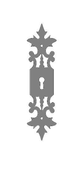 German Castle Iron Escutcheon Plate