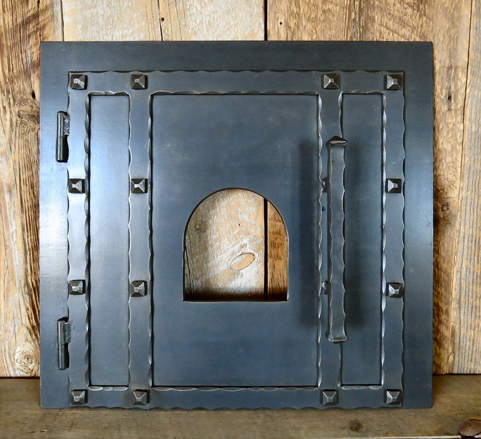 Rustic Square Hinged Pizza Oven Door