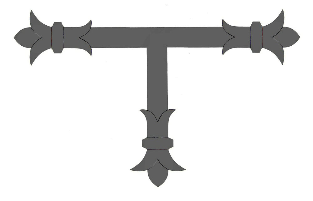 "Load image into Gallery viewer, Babylonian Fleur De Lis Iron ""T"" Strap"