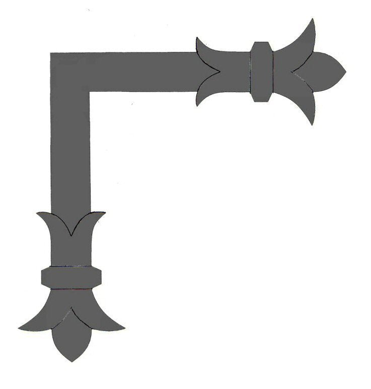 "Load image into Gallery viewer, Babylonian Fleur De Lis  Iron ""L"" Strap"