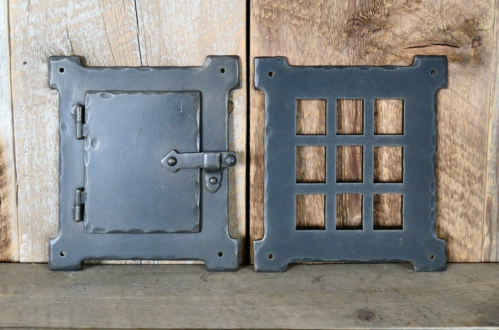 Neo-Classical Iron Speakeasy Door & Grill Set