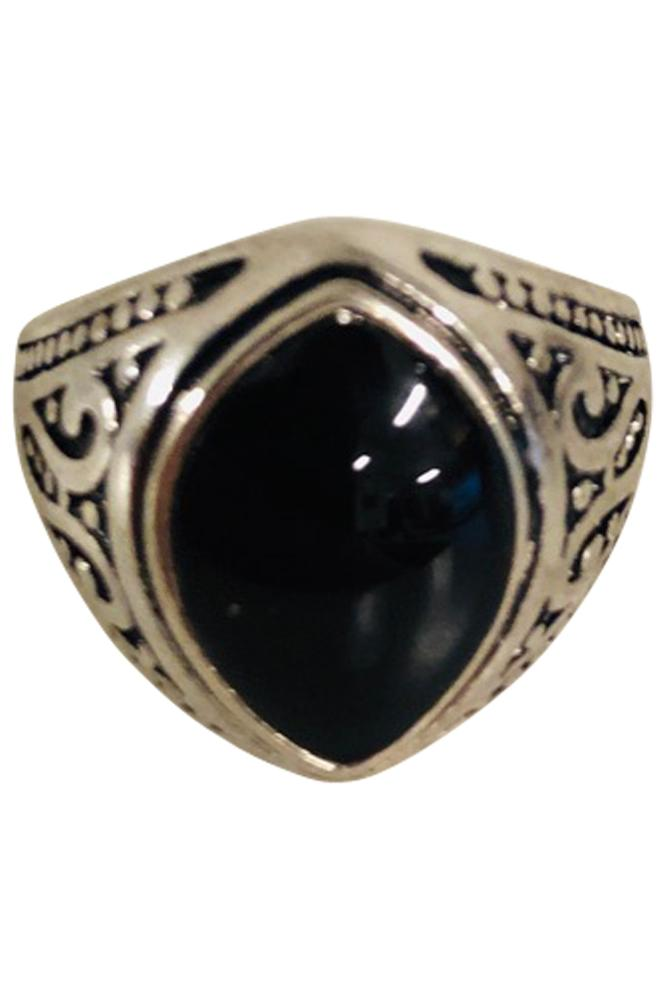 Black Oval Stone Silver Ring