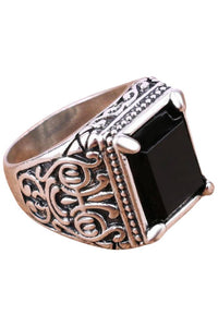 Milano Black Stone Silver Ring