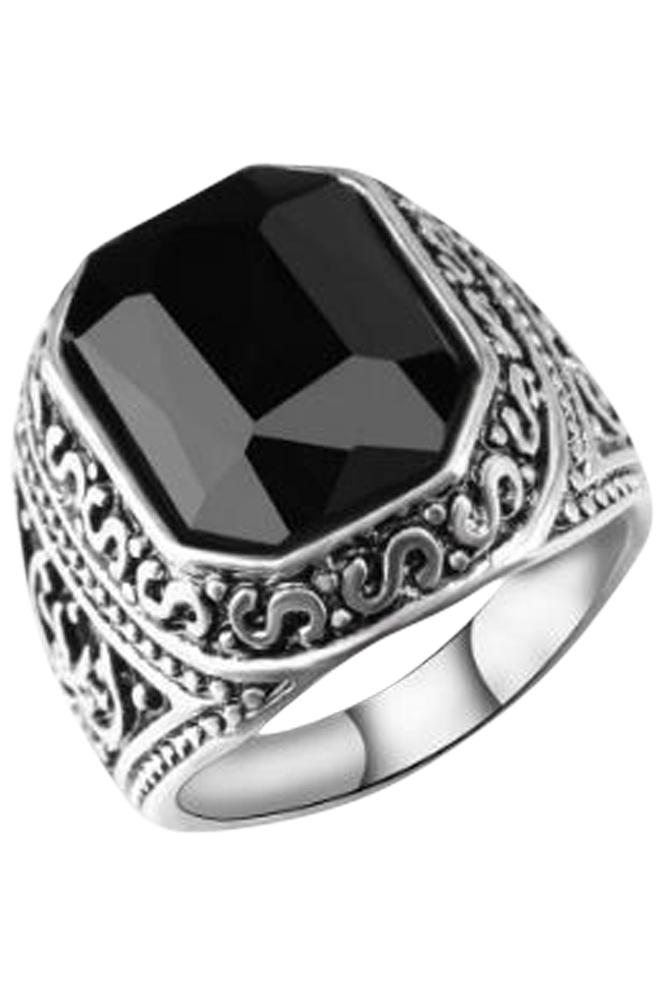 Black Stone Silver Ring