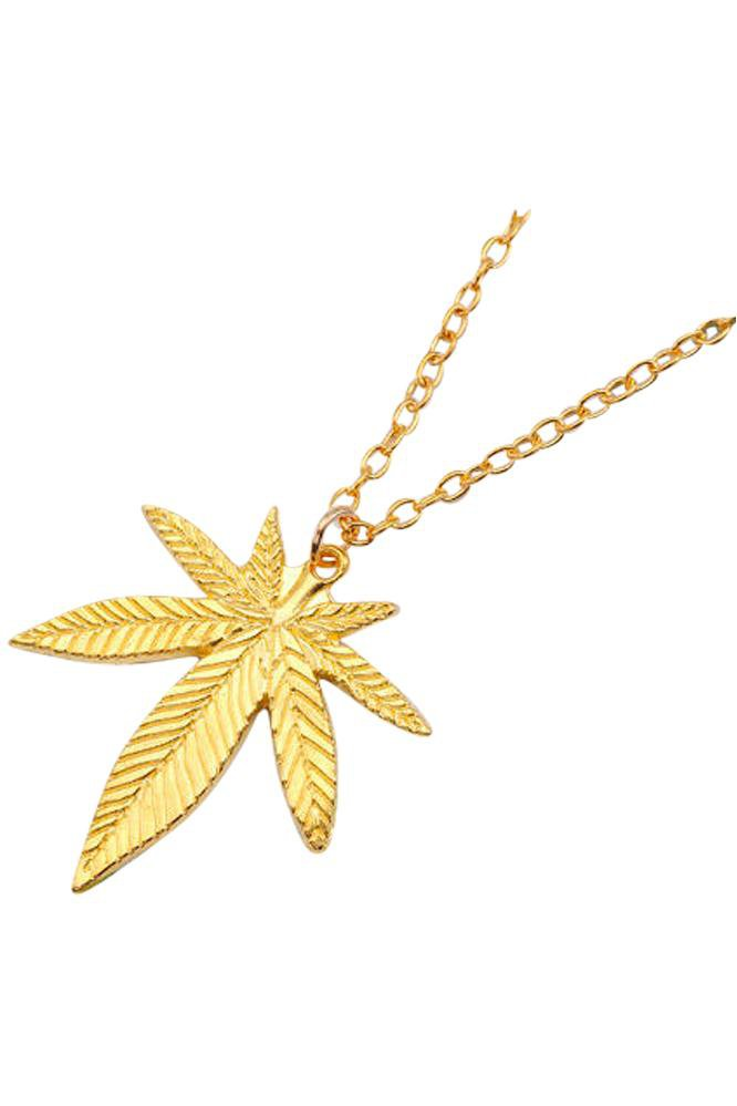 Weedy Gold Long Necklace