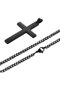 Cross Black Long Necklace